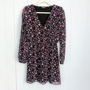 Express Floral Print Chiffon V-Neck Wrap Dress